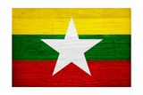 Myanmar Flag Design with Wood Patterning - Flags of the World Series