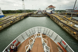 The Bow of a Small Passenger Ship as it Transits the Gatun Locks