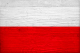 Poland Flag Design with Wood Patterning - Flags of the World Series
