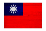 Taiwan Flag Design with Wood Patterning - Flags of the World Series