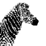 Low Poly Safari Art - Zebra Profile - White edition II