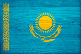 Kazakhstan Flag Design with Wood Patterning - Flags of the World Series