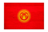 Kyrgyzstan Flag Design with Wood Patterning - Flags of the World Series