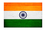 India Flag Design with Wood Patterning - Flags of the World Series