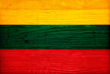 Lithuania Flag Design with Wood Patterning - Flags of the World Series