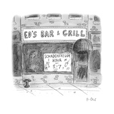 "A bar advertising a ""Schadenfreude Hour"" - New Yorker Cartoon"