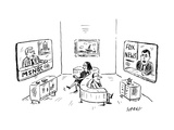 Two people on s-shape couch: one watching MSNBC  the other watching Fox Ne - New Yorker Cartoon