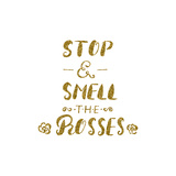 Stop and Smell the Roses -Handdrawn Brush Pen Inspirational Quote