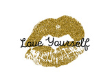 Poster with Gold Glitter Lips Prints on White Background