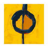 Large Black  Yellow and Orange Abstract Digital Painting