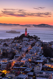 Classic Coit Tower After Sunset  San Francisco  Cityscape  Urban View