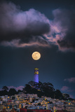 Full Moon Mood Coit Tower  San Francisco Iconic Travel