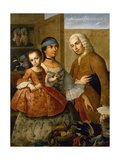 Couple with Little Girl (De Espanol y Mestiza  Castiza)  Museo de America  Madrid  Spain