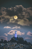 Full Moon Over Coit Tower  San Francisco Iconic Travel