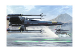 Early X-Wing Model Cruising over a Lake to Attack the Empire