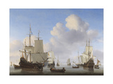 Dutch Ships in a Calm  by Willem Van De Velde