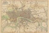 Map of London, 1813 Giclée par The Vintage Collection