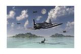 F4U Corsairs Flying over a Shot Down Japanese Nakajima Ki-84 Fighter Plane