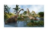 Brachiosaurus Dinosaurs Grazing in a Prehistoric Environment