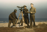 Men of Fort Story Operate an Azimuth Instrument  Circa 1942