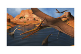Pteranodon Reptiles Flying over a Group of Brachiosaurus Dinosaurs