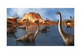 Brachiosaurus Dinosaurs Grazing in a Prehistoric Lake