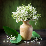 Lily of the Valley Bouquet on the Wooden Table