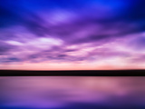 Horizontal Vivid Pink Purple River Sunset with Reflection Horizo