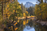 Half Dome and Fall Foliage Reflected in Merced River  Yosemite Valley  California  USA