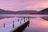 Frosty Wooden Jetty on Ullswater at Dawn  Lake District  Cumbria  England Winter 2013