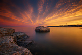 A Peaceful Serene and Warm New England Seascape at Sunset