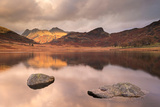 Early Morning Sunshine on Langdale Pikes  Reflected in Blea Tarn  Lake District  England