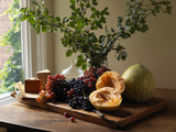 Platter with Grapes  Melon and Cheese by Window