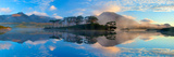 Misty Morning Reflection of the Twelve Bens in Derryclare Lough  Connemara  Co Galway  Ireland