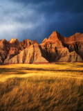 Grass Meadow and Colorful Rocks Badlands National Park  South Dakota