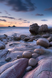 Twilight on the Rocky Cornish Cove at Porth Nanven  Cornwall  England Winter 2012