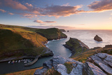 Boscastle Harbour at Sunset  Cornwall  England Summer 2014