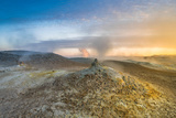 Landscape of Geothermal Hot Springs  Mud Pots and Fumaroles  Namaskard by Lake Myvatn  Iceland