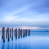 The Remains of an Old Jetty on the Beach Near Dunedin  New Zealand  Just before Dawn  Square