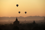 A Beautiful Sunrise over the Buddhist Temples in Bagan