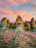 Rock Formations with Red Brome Grass and Clouds in Leslie Gultch Malhuer County  Oregon