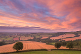 Spectacular Sunset Above Rolling Devon Countryside  Stockleigh Pomeroy  Devon  England