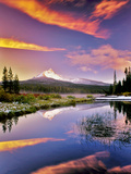 Mount Washington Reflection in Big Lake with Snow and Sunset Oregon