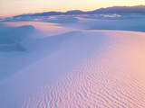 Wind Ridges in Gypsum Dunes at Sunset with San Andres Mountains