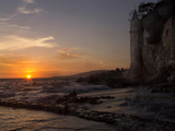 The Sunset over the Turret Tower at Victoria Beach in Laguna Beach  Southern California
