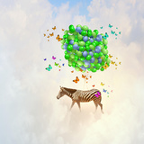 Fantasy Image of Zebra Flying in Sky on Bunch of Colorful Balloons