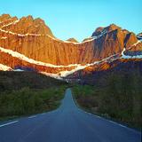 Midnight Sun at Peak Stjerntind  under Road  Lofoten  Northern Norway