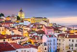 Lisbon  Portugal Twilight Cityscape at the Alfama District