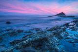 Timelapse Sunset and Blur Water at Atlantic Rocky Beach in Wembury Devon  Uk