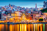 Porto  Portugal Old City Skyline from across the Douro River